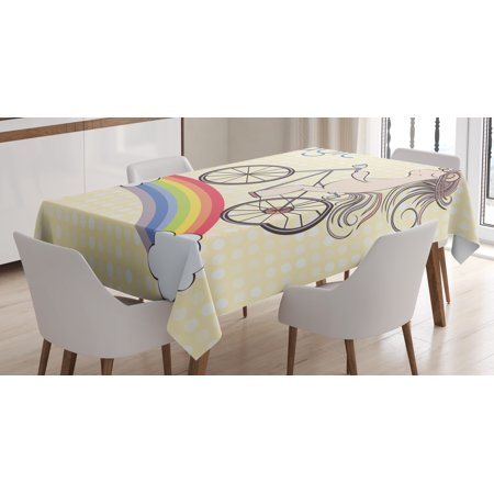 Unicorn Party Tablecloth, Polka Dot Background with Hand Drawn Magical Animal Riding Bicycle on Rainbow, Rectangular Table Cover for Dining Room Kitchen, 52 X 70 Inches, Multicolor, by Ambesonne