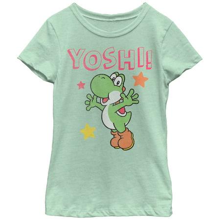 Nintendo Girls' Yoshi Jump Stars T-Shirt - Is Yoshi A Girl Or A Boy