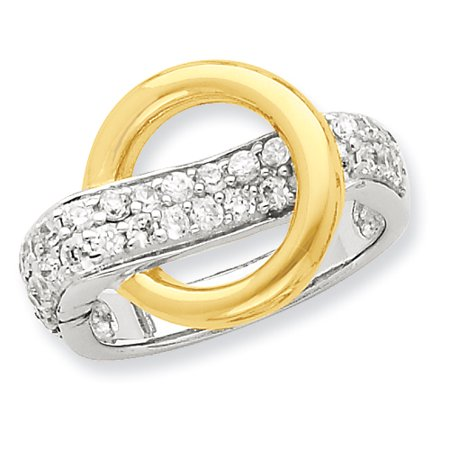 925 Sterling Silver Vermeil Circle Cubic Zirconia Cz Band Ring Size 8.00 Fine Jewelry Gifts For Women For Her - image 5 de 5