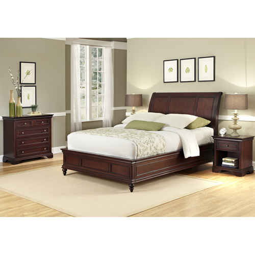 Home Styles Lafayette Queen/Full Sleigh Headboard, Night Stand and Drawer Chest, Rich Cherry