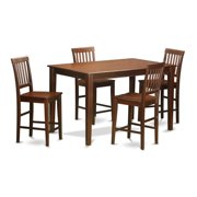East West Furniture DUVN5H-MAH-LC Counter Height Pub Table & 4 Bar Stools, Mahogany