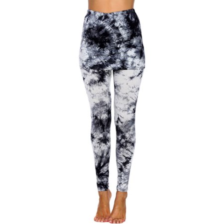 Women's Tie Dye Skirted Leggings - Skort With Leggings