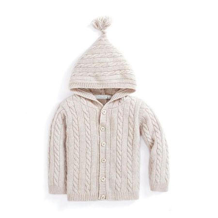 Cable Knit Lambswool (JoJo Maman Bébé Toddler Boys' Hooded Cable Lambswool mix Knit Cardigan 3-4)