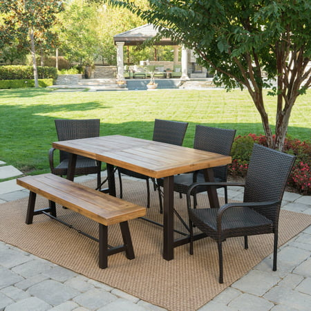 Garrett Outdoor 6 Piece Acacia Wood Dining Set with Wicker Stacking Chairs, Teak Finish, Multibrown ()