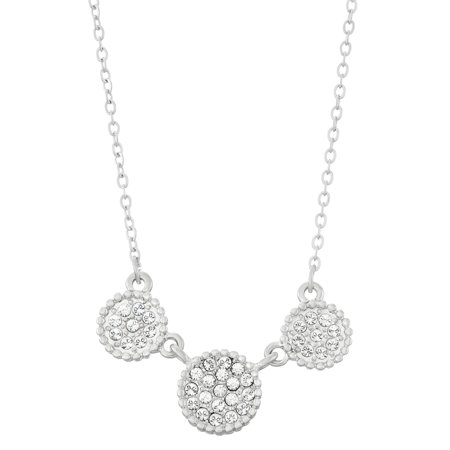 Rhodium Plated Triple Circular Shapes Pave Necklace, Made With Swarovski - Rhodium Plated Flower Shape Pendant