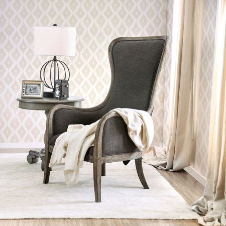 Furniture of America Lysa Shabby Chic Grey Wingback Accent Chair by FOA ()