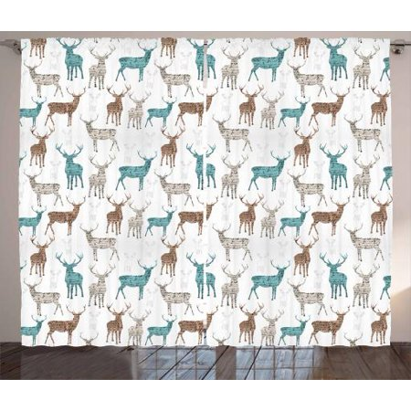 Deer Curtains 2 Panels Set, Animals with Old Text Pattern Christmas Theme Vintage Inspired Illustration, Window Drapes for Living Room Bedroom, 108W X 108L Inches, Turquoise Brown Beige, by Ambesonne