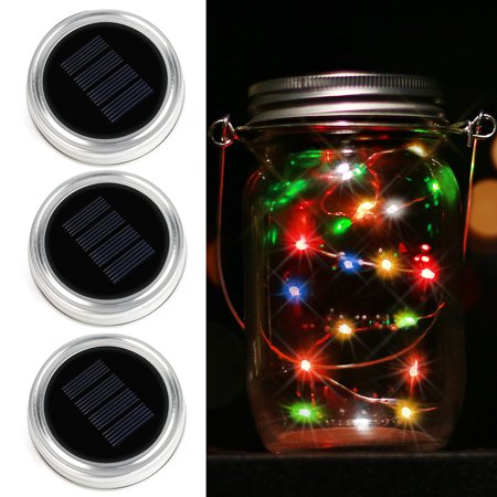 Solar Mason Jar Lid - Kohree 3 Pack Mason Jar Lights with 10 LED,Color Changing Fairy String Light, Multi-color (Jaw String)