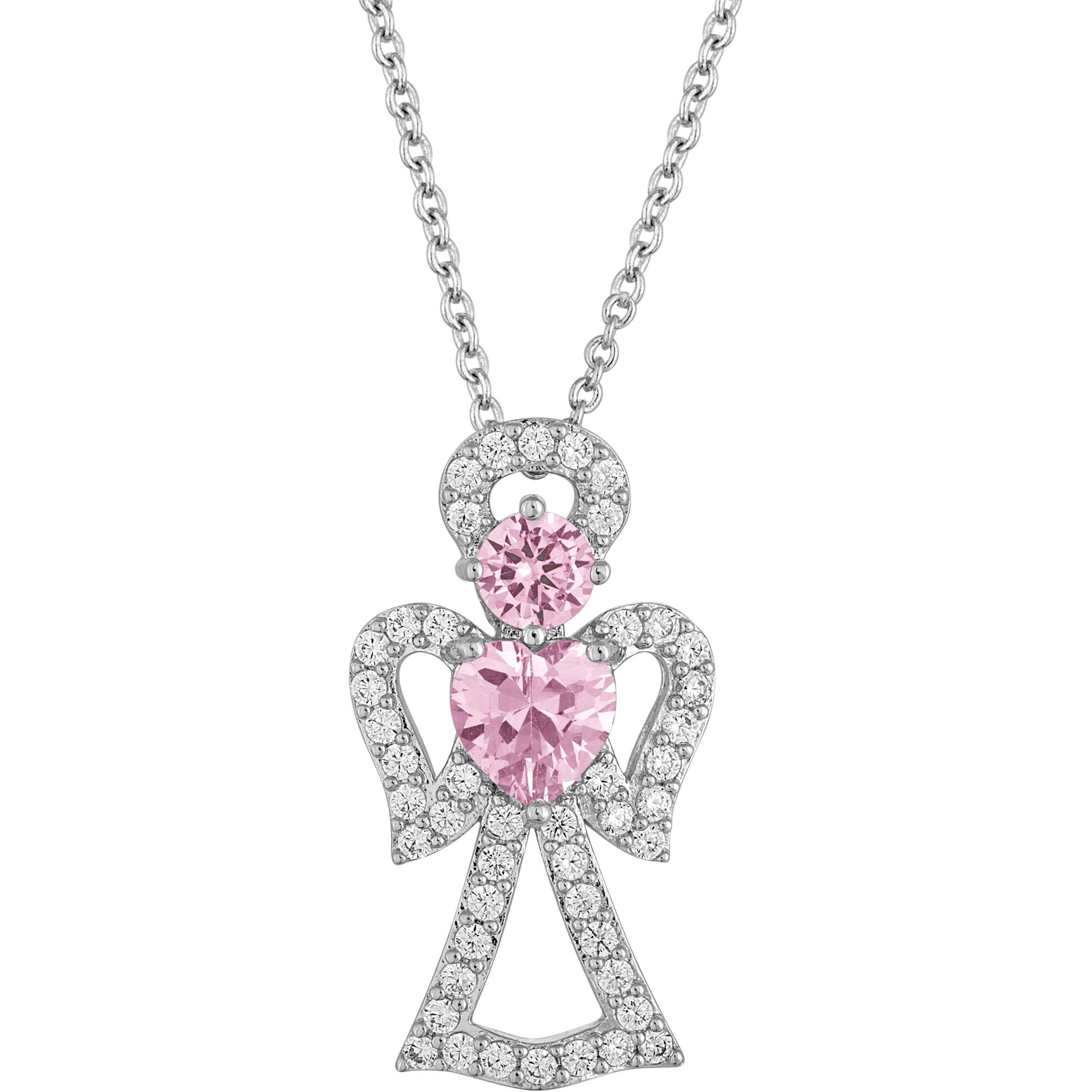 """Gemspirations Sterling Silver-Plated Simulated Pink Sapphire with CZ Accents Angel Pendant, 18"""""""