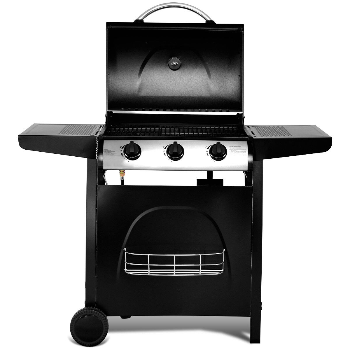 Gymax 3-Burner Liquid Propane Gas BBQ Grill Backyard Barbecue Outdoor Black W/Casters