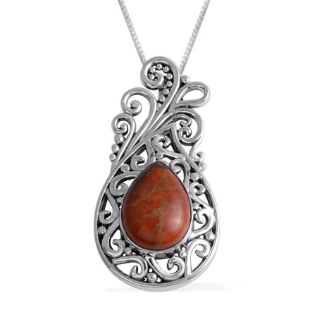 """925 Sterling Silver Artisan Crafted Pear Sponge Coral Pendant Necklace for Women and Girls 18"""""""
