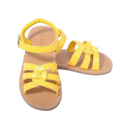 Patent Yellow Woven Strap Summer Sandals Toddler Girls 5 10