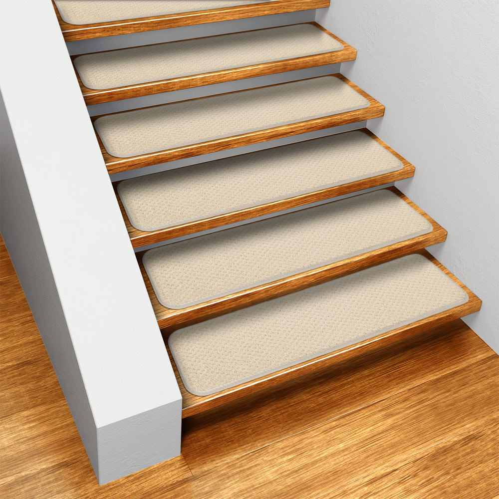 Set of 12 Skid-resistant Carpet Stair Treads - Ivory Cream - 8 In. X 23.5 In. - Several Other Sizes to Choose From