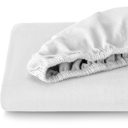 Bare Home Fitted 100% Cotton Ultra Soft Jersey Bottom Sheet – Breathable - Deep Pocket (Full XL, White)