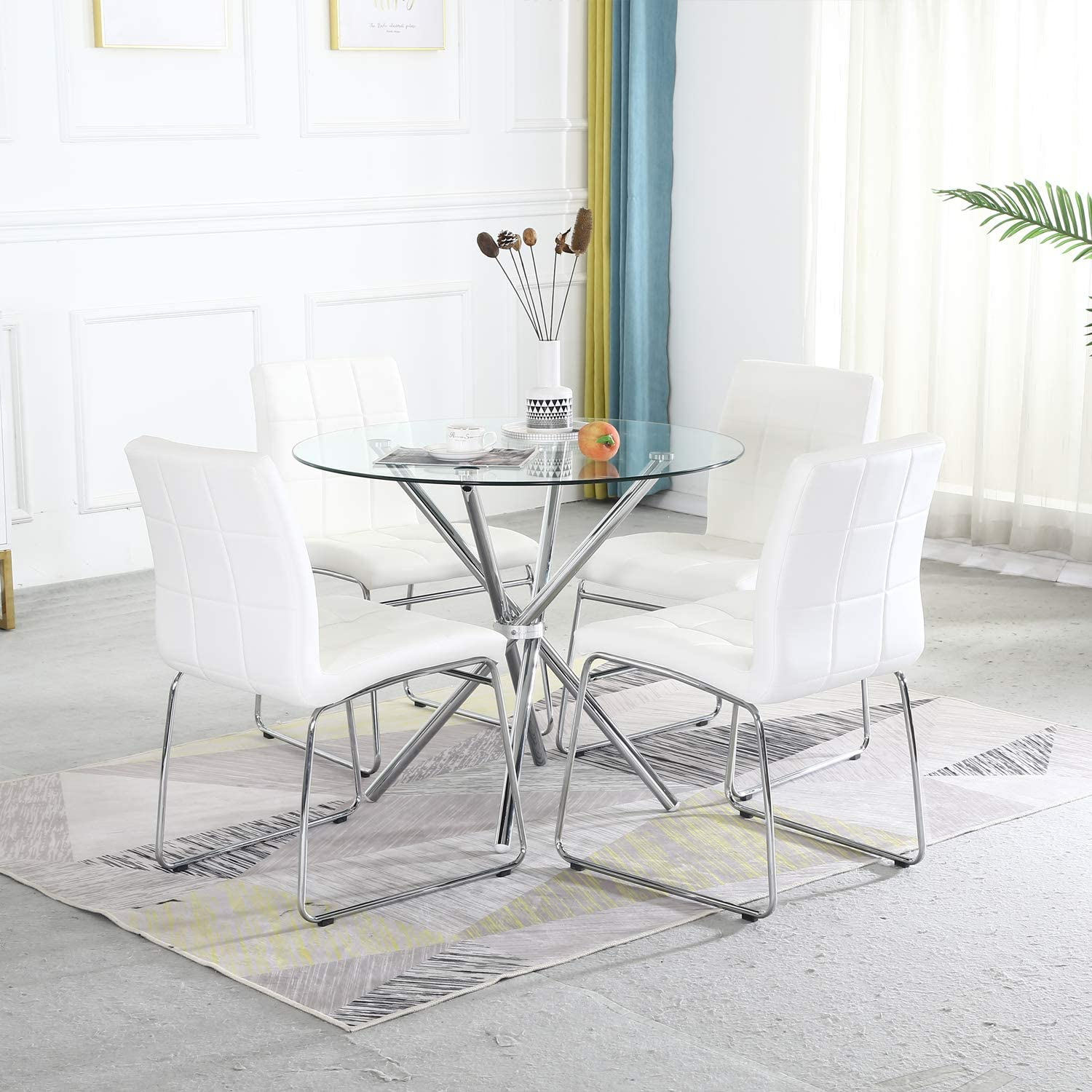 5pcs round dining table set tempered glass kitchen dining
