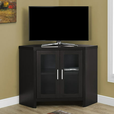 Corner TV Stand with Glass Doors Cappuccino - EveryRoom