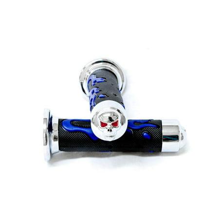 """Krator Blue Skull Motorcycle Rubber Hand Grips 7/8"""" Pair For Suzuki V-Strom SV650 SV1000 TL1000 R S"""