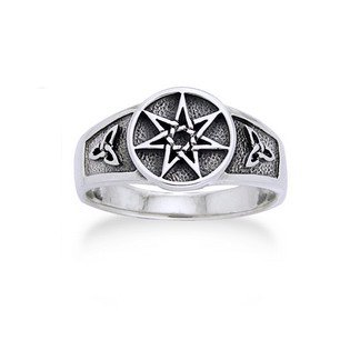Sterling Silver Faerie or Elven Star and Celtic Knot Ring