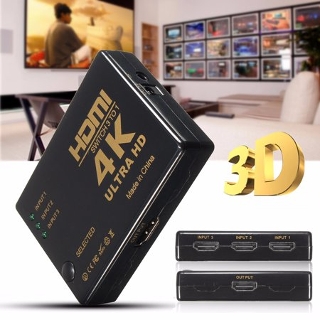 U ltra HD 4K*2K 3 Ports H DMI Splitter 3in 1out Amplifier Full HD 1080P TV Switcher Box Adapter for HDTV DVD Xbox 360 PC + Wireless