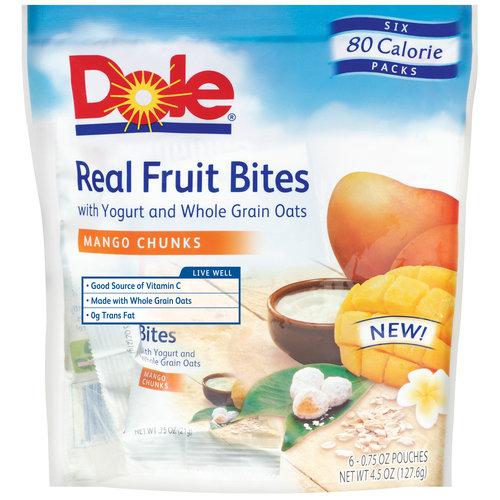 Dole: Real Mango Chunks 0.75 Oz Fruit Bites, 6 Pk