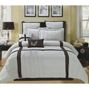 12pc Luxury Bed in a Bag- Broadway Beige/ Chocolate