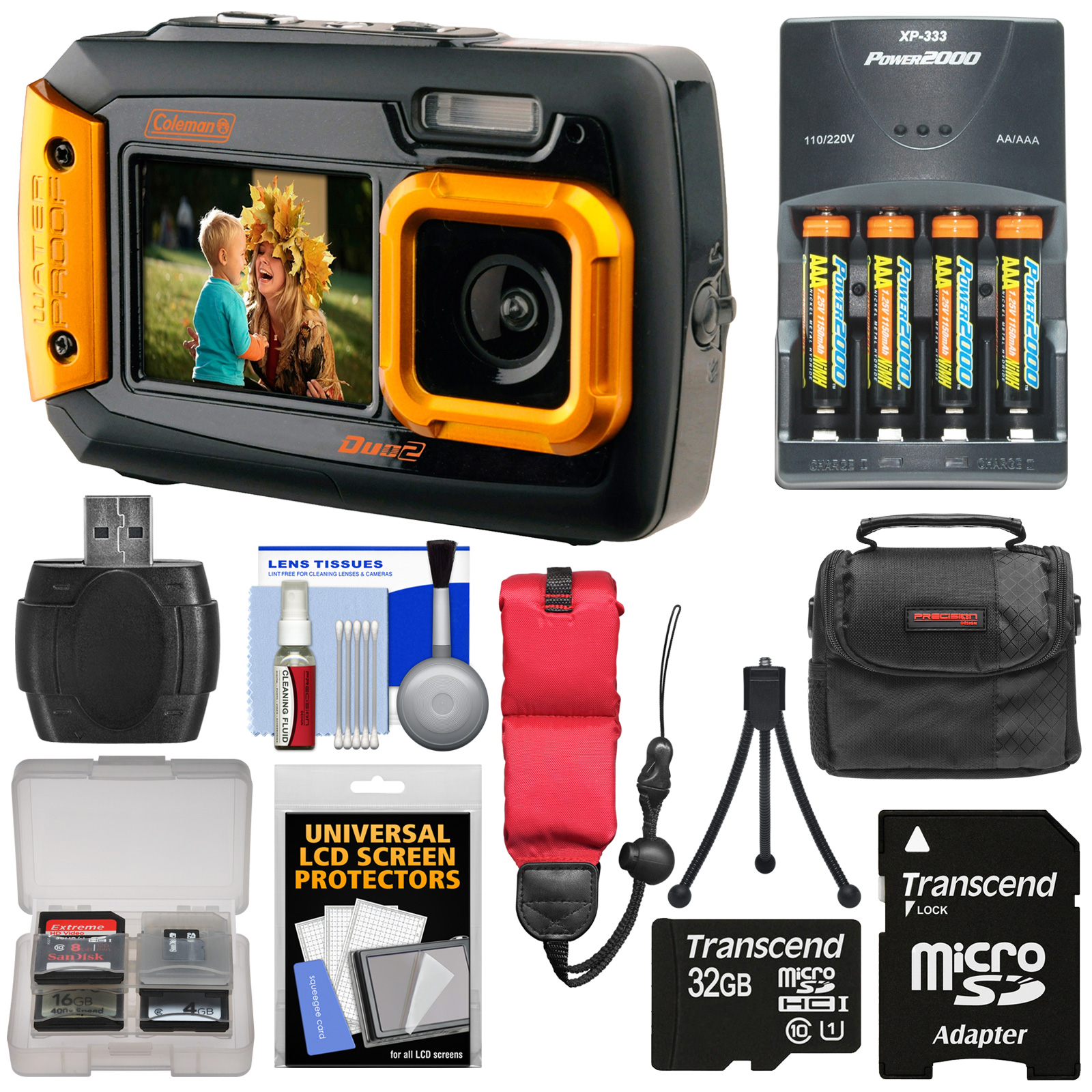 Coleman Duo 2V9WP Dual Screen Shock & Waterproof Digital Camera (Yellow) with 32GB Card + Batteries & Charger + Case +... by Coleman