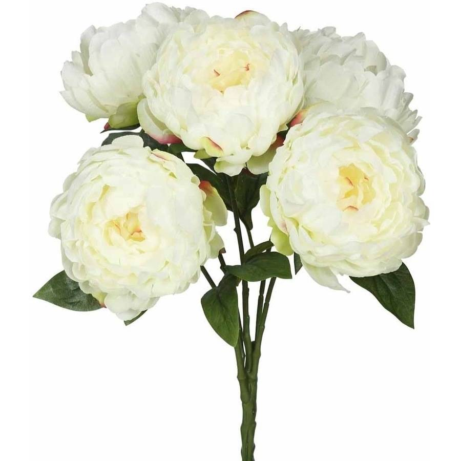 "Vickerman 20"" Artificial Cream Peony Bunch Featuring 5 Blossoms"