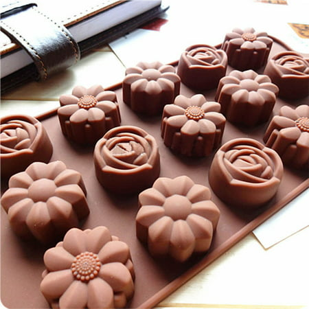 15-Cavity Silicone Chocolate Mold with 3 Flower Shape Styles Tray Mould for Baking Ice Chocolate Supplies - Halloween Chocolate Tray Bake