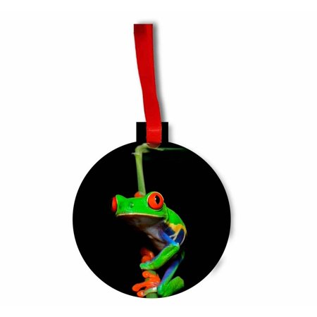 Red Eyed Tree Frog Flat Round Shaped Hardboard Hanging Christmas Holiday Tree Ornament Made in the U.S.A. Red Tree Frog