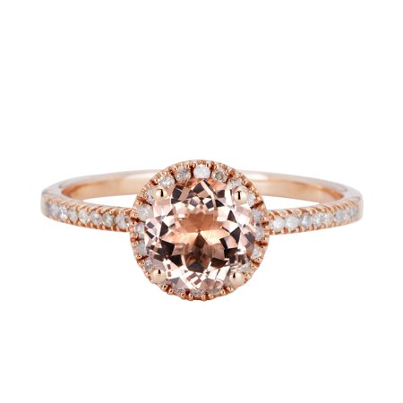 2 Carat Round Cut Real Peach Morganite And Diamond Halo Pave Designer Engagement - Halo Suit Real Life