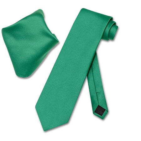 Vesuvio Napoli Solid EMERALD GREEN Color NeckTie Handkerchief Men's Neck Tie - Dark Green Polyester Ties