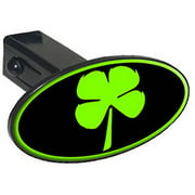 """Four Leaf Clover, Irish Luck 1.25"""" Oval Tow Trailer Hitch Cover Plug Insert"""