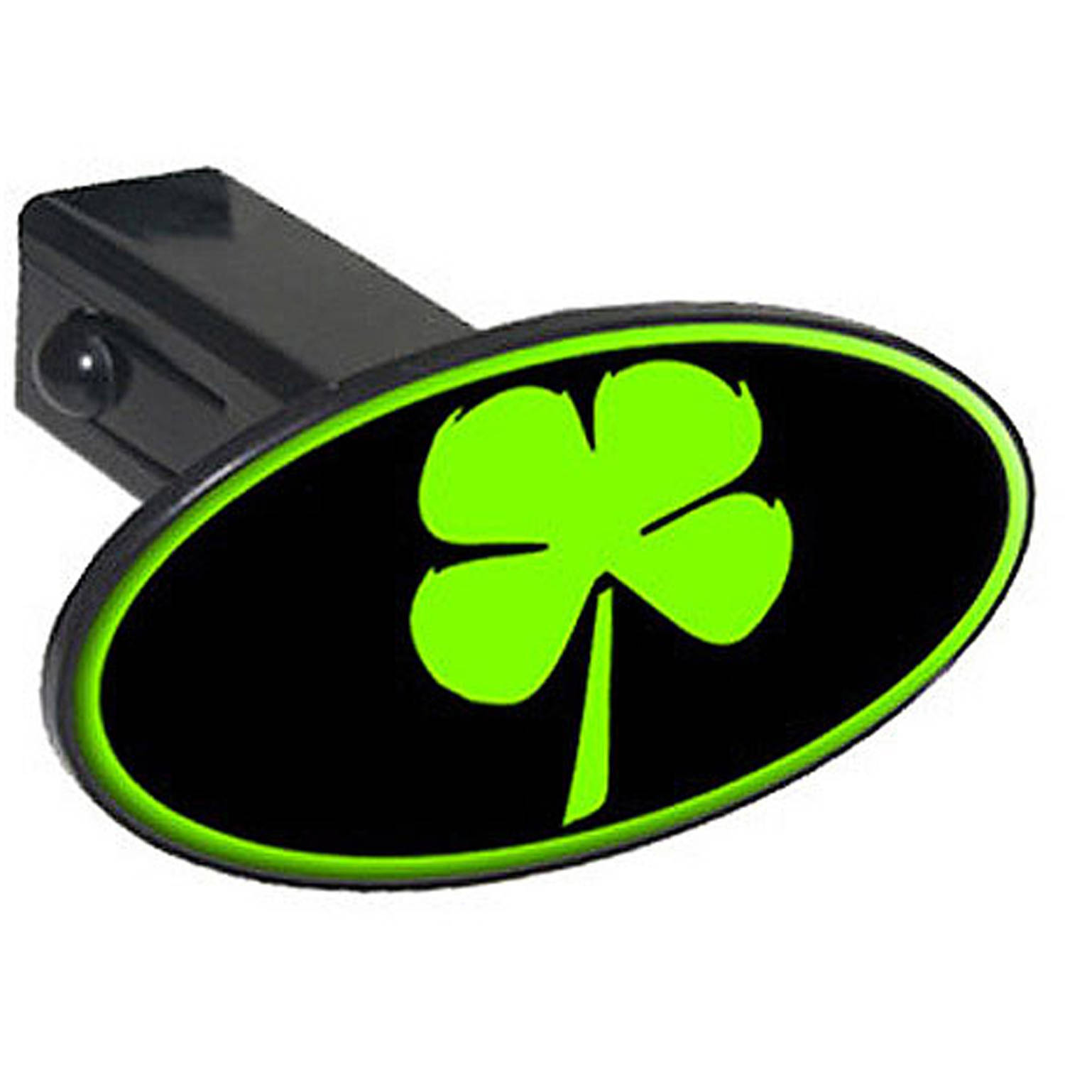 "Four Leaf Clover, Irish Luck 1.25"" Oval Tow Trailer Hitch Cover Plug Insert"