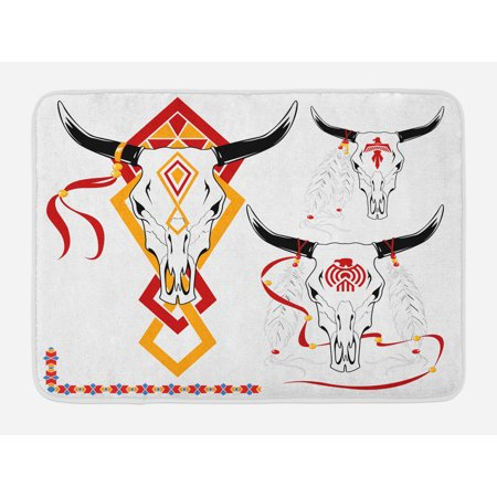 Tattoo Bath Mat, Bulls Head with Feather of Bird as Accessory with Tribal Designers Print, Non-Slip Plush Mat Bathroom Kitchen Laundry Room Decor, 29.5 X 17.5 Inches, Red Yellow and - Tattoos Of Birds