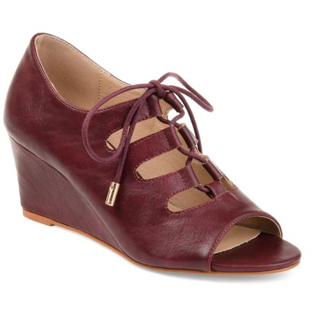Brinley Co. Womens Faux Leather Lace-up Open-toe Wedges