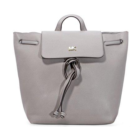 Pearl Gray Leather - Michael Kors Junie Medium Pebbled Leather Backpack- Pearl Grey
