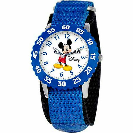 Mickey Mouse Boys Stainless Steel Watch, Blue Strap