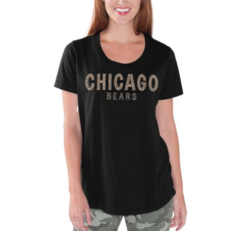 Chicago Bears G-III 4Her by Carl Banks Women's Tag Up T-Shirt - Black Chicago Bears Black Leather