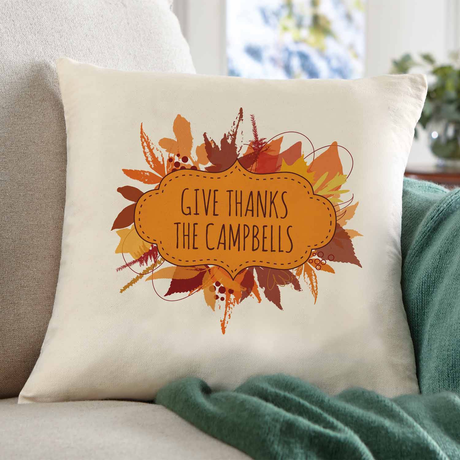 Personalized Autumn Leaves Pillow