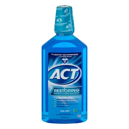 - ACT® Restoring® Anticavity Fluoride Cool Mint Mouthwash 33.8oz