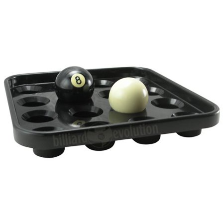 Pool Ball Tray, Black tray holds a full set of 15 pool balls plus a cue ball By Billiard Evolution