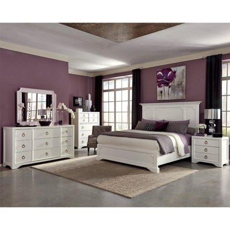 Classic Panel Design White Unique Beautiful Bedroom Furniture Wood Queen  Size Bed Dresser w Tray Mirror Nightstand USB