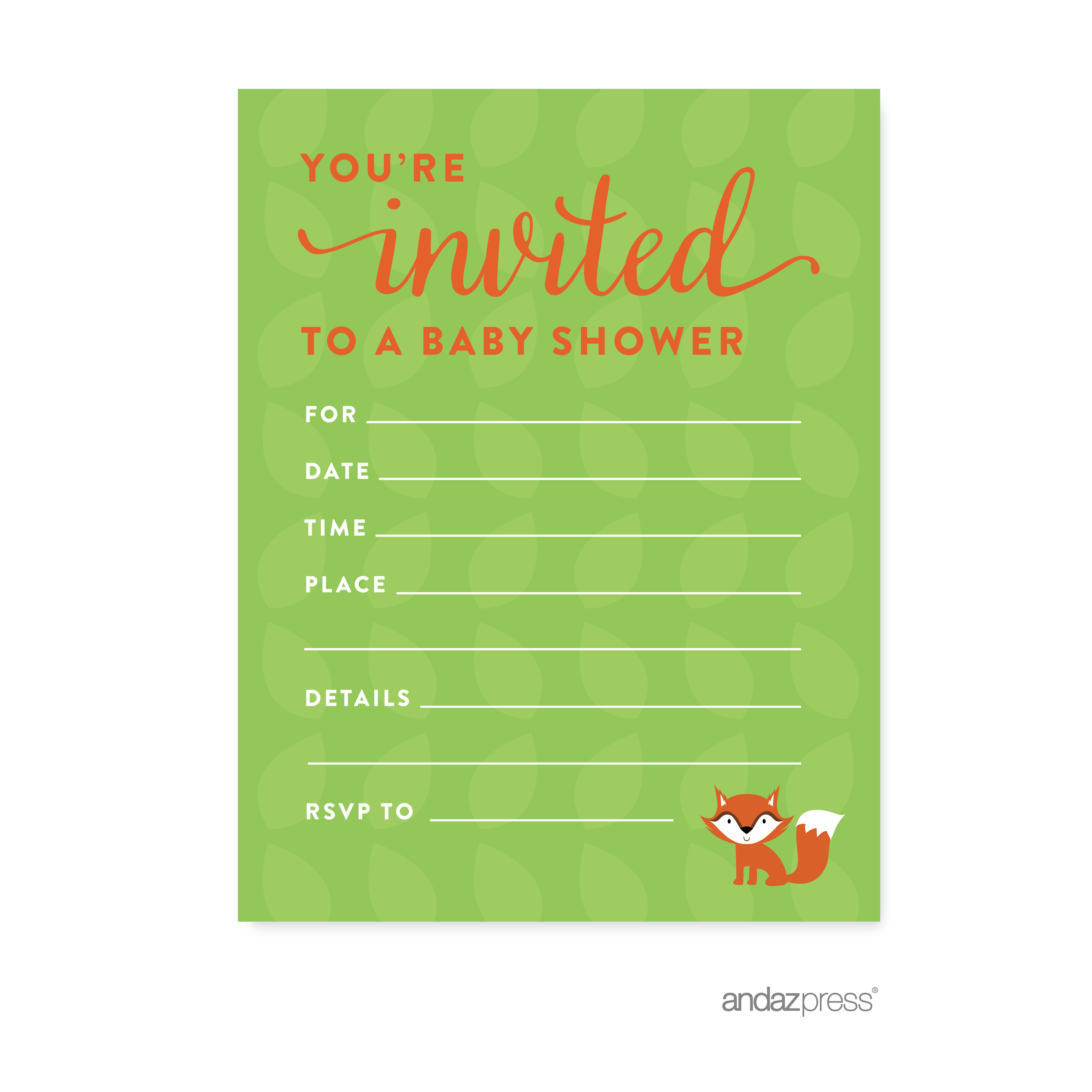 Woodland Animals Baby Shower Blank Invitations, 20-Pack
