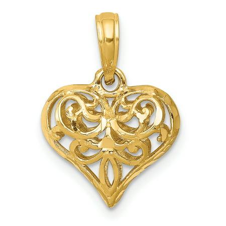 14k Yellow Gold 3 D Filigree Heart Pendant Charm Necklace Love Fleur De Lis Fine Jewelry Gifts For Women For Her - image 6 de 6