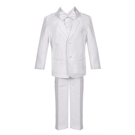 Baby Boys White 5 Piece Classic Vest Jacket Pants Special Occasion Tuxedo
