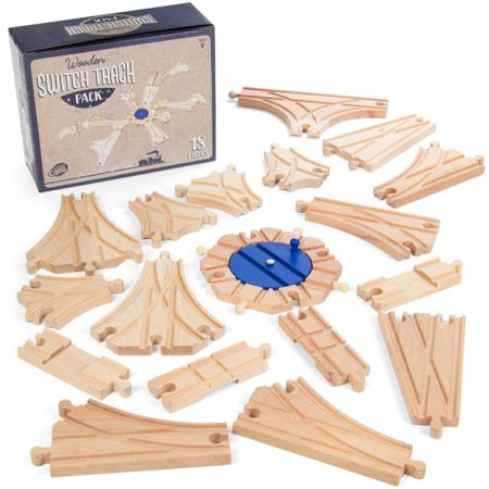 Switch Track Wooden Train Set (18 pcs.) | 8 Way Turntable Rail Station and (Train Fire Station)