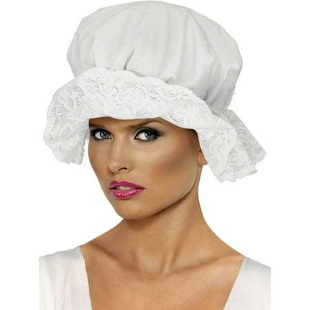 Adult Womens White Colonial Mop Cap Bonnet Costume Accessory