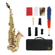 Bb Soprano Saxophone Sax Phosphor Copper Woodwind Instrument with Carry Case Gloves Cleaning Cloth Brush Sax Strap Mouthpiece Brush