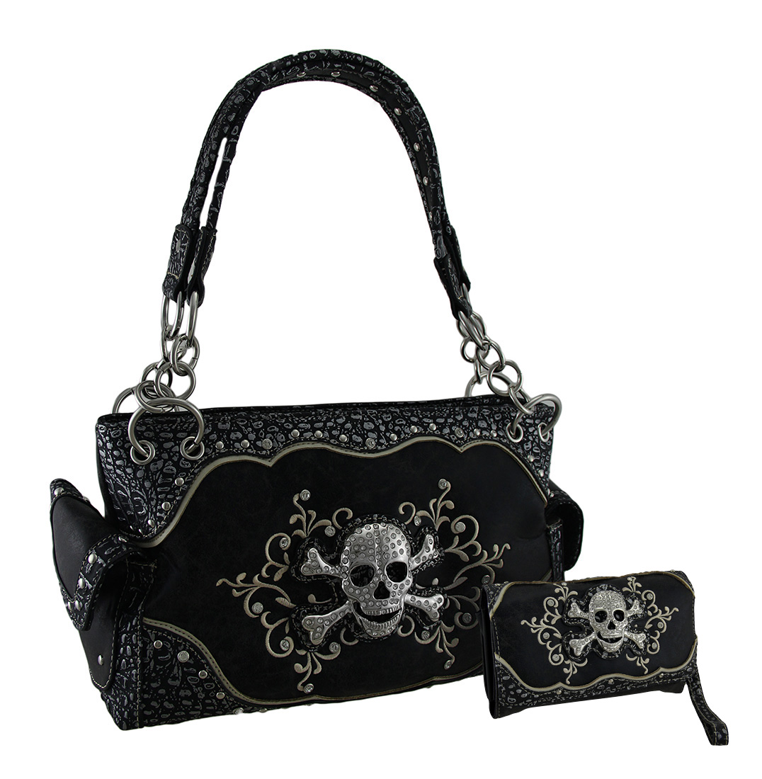 Black Foil Fabric Rhinestone Skull Concealed Carry Purse/...