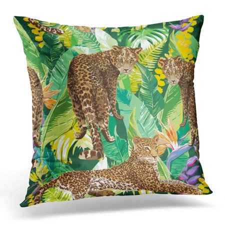 ARHOME Brown Exotic Leopards in Colorful Tropical Flowers Animal Green Tiger Pillows case 16x16 Inches Home Decor Sofa Cushion Cover